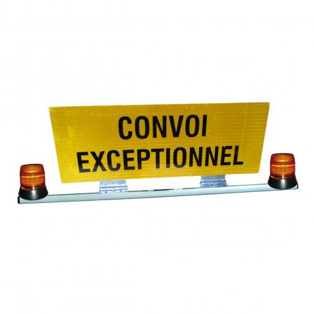 BARRE + PANNEAU CONVOI EXCEPTIONNEL DOUBLE FACE + 2 GYRO LED 12/24 V