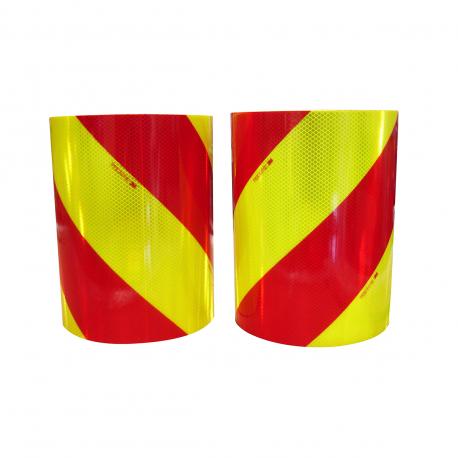 KIT 2 ROULEAUX DE BANDES ALTERNÉES ROUGE/JAUNE FLUO (G+D) 9 x 0,28m