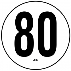 DISQUE PVC RIGIDE LIMITATION DE VITESSE 80 KM/H
