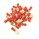 100 COSSES ROUGES PLATES MÂLE PRÉ-ISOLÉES - SECTION CÂBLE : 0,25-1,65 mm² (DIAMÈTRE FIXATIONS : 6,3 mm)