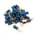 100 COSSES BLEUES PLATES MÂLE PRÉISOLÉES À MANCHON PVC - SECTION CÂBLE : 1,04-2,63 mm²