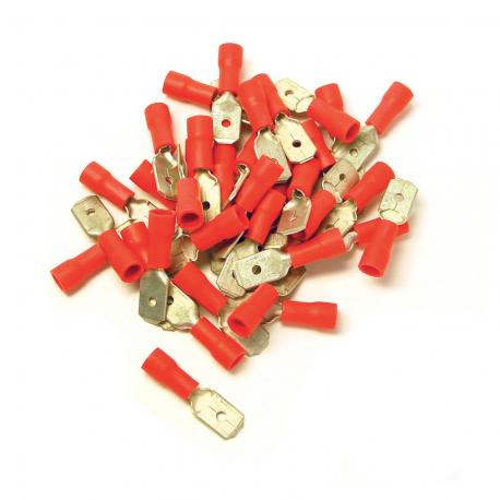 100 COSSES ROUGES PLATES MÂLES PRÉ-ISOLÉES À MANCHON PVC - SECTION CÂBLE : 0,25-1,65 mm²
