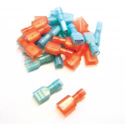 100 COSSES ROUGES PLATES MÂLE SIMPLES SUPER ISOLÉES - SECTION CÂBLE : 0,25-1,65 mm