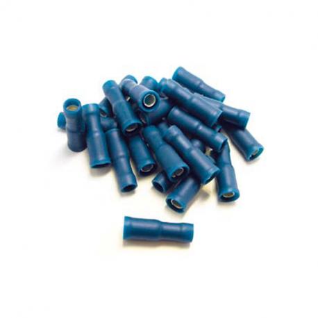 100 COSSES BLEUES RONDES PRÉISOLÉES À MANCHON PVC DE DIAMÈTRE 4 mm - SECTION CÂBLE : 0,5-1,5 mm²