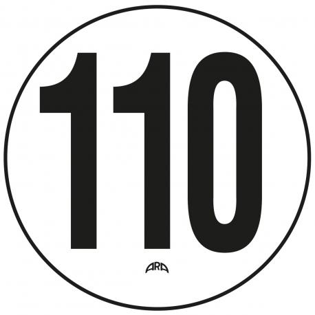 DISQUE DE LIMITATION DE VITESSE 110 KM/H EN PVC RIGIDE