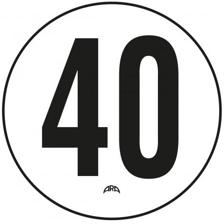 DISQUE DE LIMITATION DE VITESSE 40 KM/H ADHÉSIF