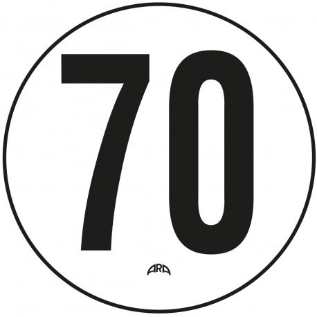 DISQUE DE LIMITATION DE VITESSE 70 KM/H ADHÉSIF
