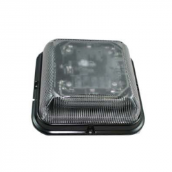 GYROPHARE DESIGN CARRE LED ORANGE 12/24V CABOCHON TRANSPARENT