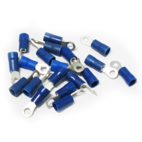 100 COSSES BLEUES À ŒIL PRÉ-ISOLÉES BLEUES À MANCHON PVC - SECTION CÂBLE : 1,04-2,63 mm²